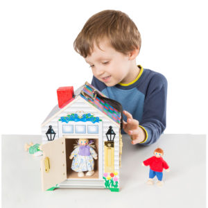 Wooden door bell house with keys,doorbell house, listen, house with play people,hearing impairment,cochlear implants,hearing aids