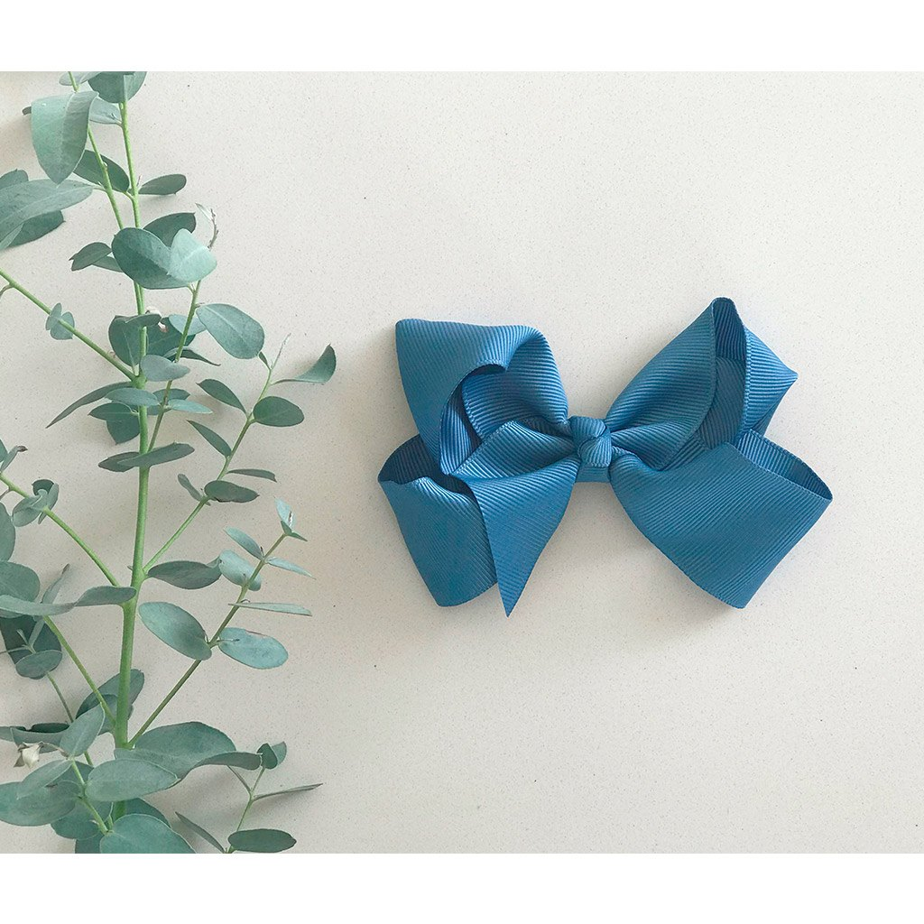 Antique blue bow from little olga 10 cm. Bows and headbands for girls